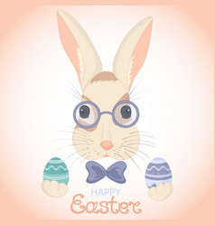 easter bunny in glasses and bow with paschal eggs vector image