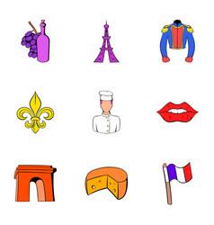 eiffel tower icons set cartoon style vector image