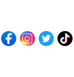 Facebook instagram twitter tik tok icons vector
