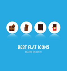 flat icon sweet set of wrapper cocoa dessert and vector image