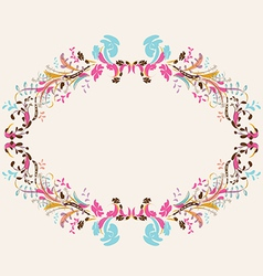Floral doodle frame with space vector