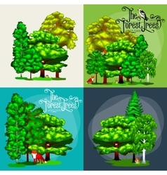 Forest green trees on the grass bush in summer vector