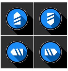 Four white blue arrows - black shadows vector