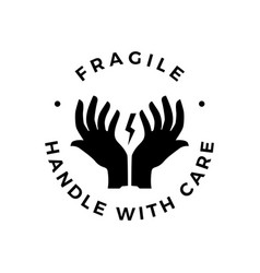 fragile handle with care hand glass logo icon vector image