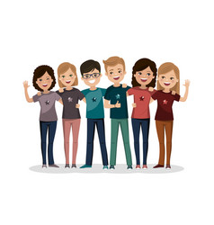 Friends group hugged together youth people happy vector