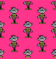 Funny boy seamless pattern vector