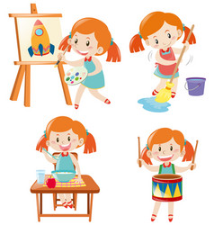 girl in blue dress doing different activities vector image