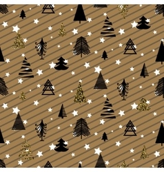 Gold and black christmas winter woods seamless vector