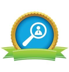 Gold search person logo vector