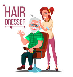 Hairdresser and old man client sitting on vector