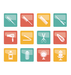Hairdressing coiffure and make-up icons vector