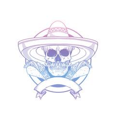 Hand drawn sketch skull with sombrero vector