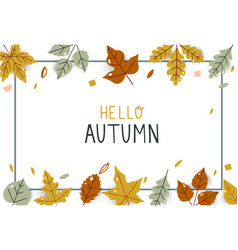 hello autumn bright fall leaves for holiday sale vector image