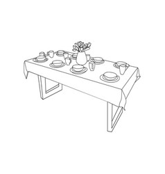 Isolated table and tableware on table vase of vector