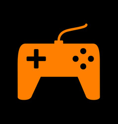 Joystick simple sign orange icon on black vector