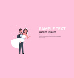 just married bridegroom holding bride on hands vector image