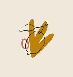 Lemon plant line art print abstract modern vector