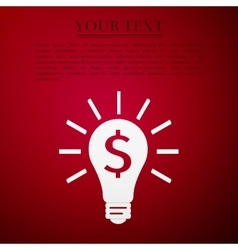 Light bulb with dollar symbol business icon on red vector