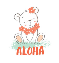 little bear with hibiscus flowers vector image