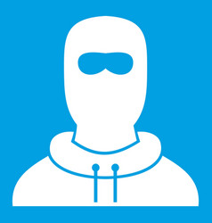 Man in balaclava icon white vector
