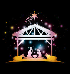 merry christmas card with holy family in stable vector image