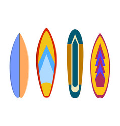 modern colorful surfboard set on white background vector image