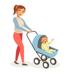 Mother walks with son in blue baby carriage vector