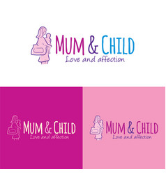 Mum and child logo and icon vector