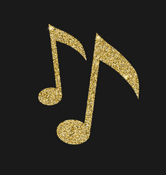 Musical notes icon with glitter effect isolated vector