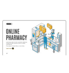 online pharmacy isometric web banner healthcare vector image