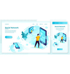 online web social network connections set vector image