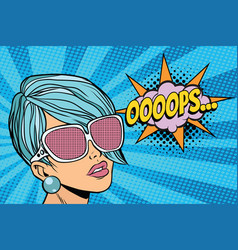 Oops beautiful woman with opaque sunglasses vector