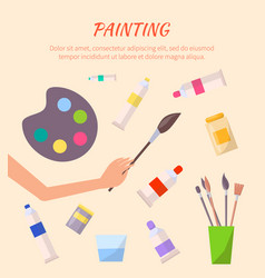 Painting poster with watercolor palette with tubes vector