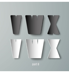 Paper Graphic Alphabet white and black VWX vector image