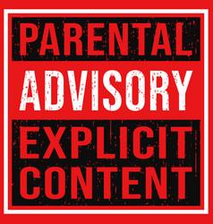 parental advisory explicit content label vector image