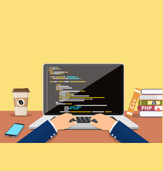 person programmer working on pc laptop vector image