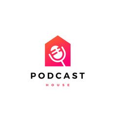 Podcast mic house home logo icon vector