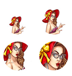 pop art avatar of pin up sexy girl icon vector image