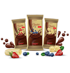 Realistic chocolates mock up product vector