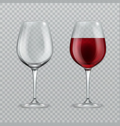 realistic wineglass empty and with red wine vector image