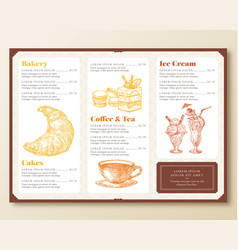 restaurant or cafe menu template retro style vector image
