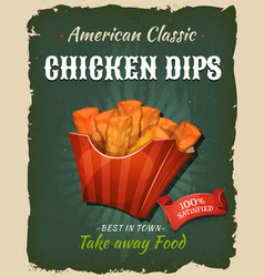 Retro fast food chicken dips poster vector