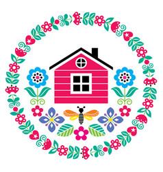 scandinavian folk art cute floral pattern vector image
