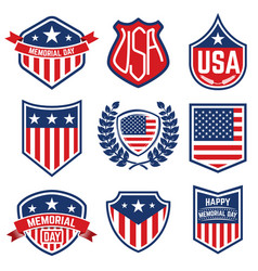 Set of the emblems with american flag memorial day vector