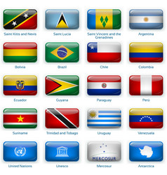 set twenty flags in button style america two vector image