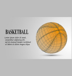 Silhouette of a basketball ball dots lines vector
