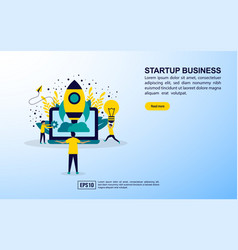 startup business concept with icon and character vector image