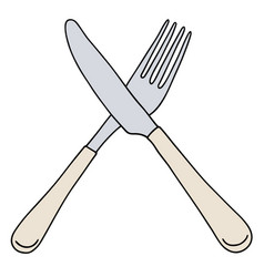 Steel fork and knife vector