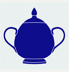 sugar pot blue silhouette on vector image