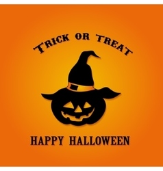 Trick or Treat Pumpkin in the witch hat on the vector image